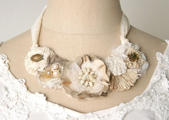 Ivory Bridal Floral Statement Necklace - Featured in Exquisite Weddings Magazine