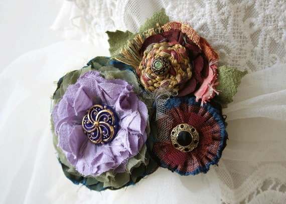 Fabric Flower Pin Corsage Brooch in Violet Purple, Burgundy, Blue, Green, Gold