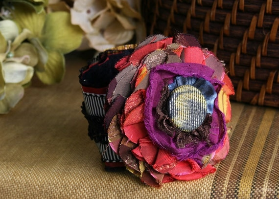 Whimsical Fabric Flower Cuff Bracelet Corsage in Bright Colors Vintage Button