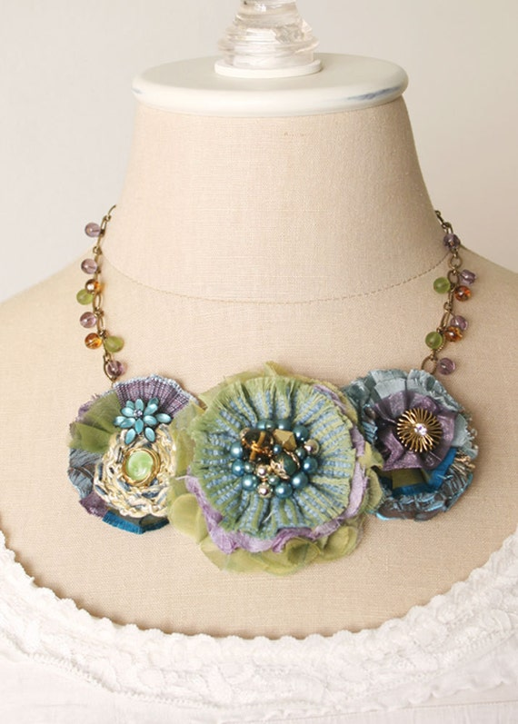 Aquamarine Garden Fabric Flower Necklace In By Rosyposydesigns