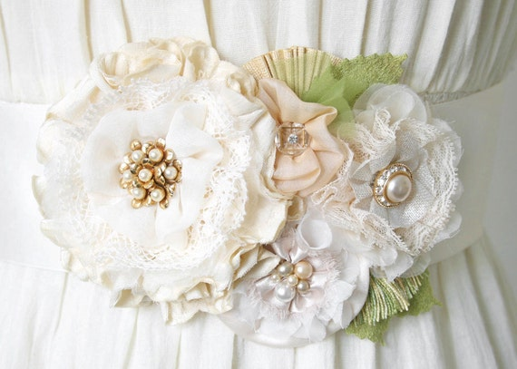 Wedding Dress Sash with Vintage Pearl Brooch and Lace