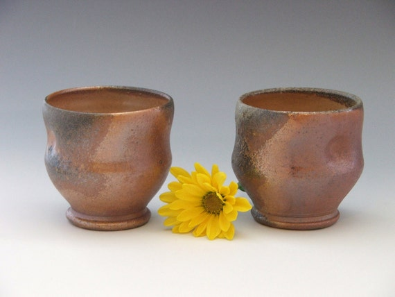 HOLIDAY SALE/ Pair of Wood Fired Wine Cups- 6 oz.