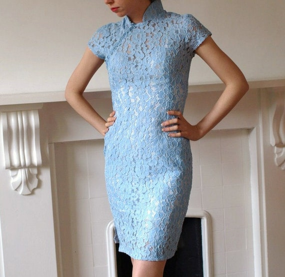 1950s lace cheongsam Chinese cocktail dress in powder blue
