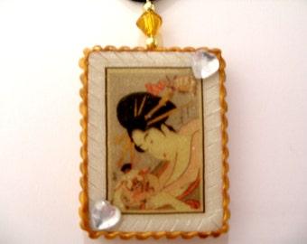 Geisha Pendant Geisha Necklace Geisha Jewelry Geisha Jewellery Geisha Girl Pendant Japanese Pendant Polymer Clay Pendant