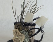 Paisley Floral - Cream Black and Sage Paisely Mini Top Hat with Sculpted Feathers