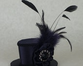 BLACK WEEKEND SALE Navy Blue and Black Sparkly Oval Mini Top Hat with Feathers by Lady Lygeia on Etsy