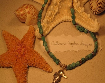 Turquoise Nugget and Silver Seahorse Necklace