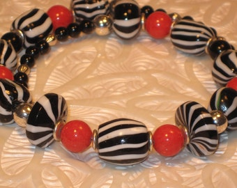 Black & White and Red All-Over Necklace