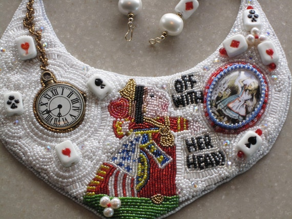 "Bead Embroidery  Necklace ""Queen of Hearts"" AWARD EBEG Team Bead Fest 3 Fairytales/Fantasy"