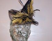 hold for Taken by the Sky gold and black steampunk mini witch hat