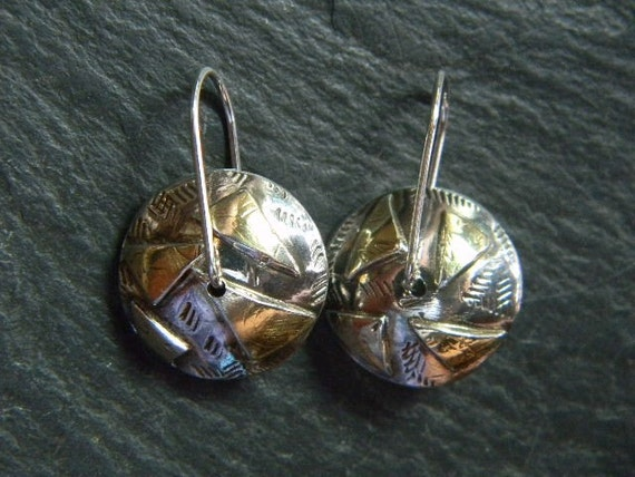 Sterling Silver and 18k Gold BiMetal Domed Earrings