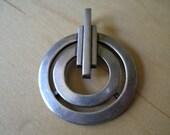 Vintage Crown TRIFARI Circle Pendant for Necklace Chain DECO Silver tone