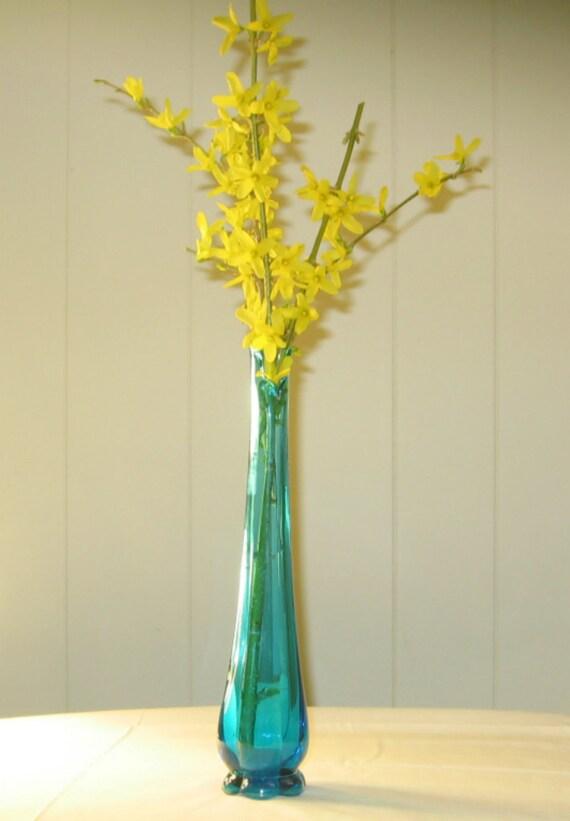 Vintage Teal Blue Bud Vase