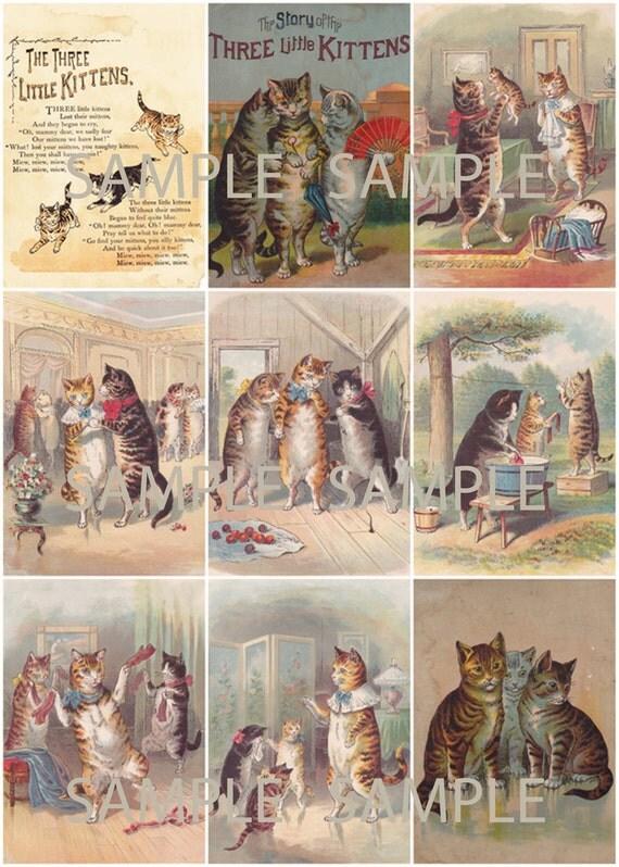 Digital download - printable collage sheet - Three Little Kittens