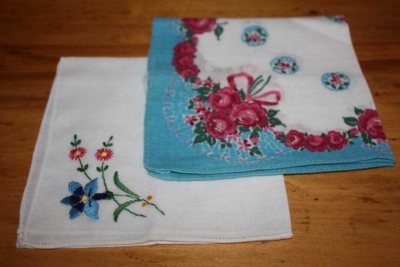 Vintage hankie x 2 - ladies - handkerchief - floral