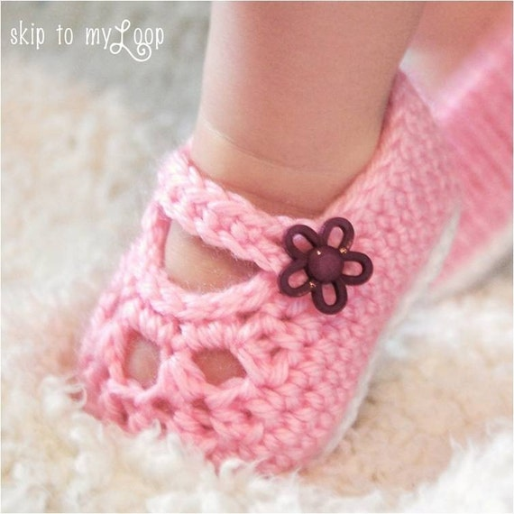 Baby Crochet Patterns Etsy : Crochet Pattern Baby Mary Loop Shoes