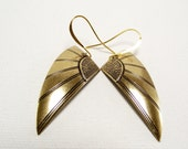 Gold Earrings - Golden Egyptian Wings of Love Earring Set