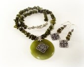 Necklace Set - Olive Green Citrine and Jade Medallion Pendant Necklace and Matching Earrings - Green Necklace Set