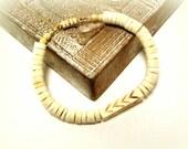 Mens White Puka Shell Beaded Bracelet