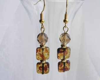 Brown Earrings - Opalescent Yellow Czech Picasso and Brown Crystal Earrings