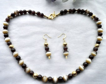 Brown Beaded Necklace and Earring Set