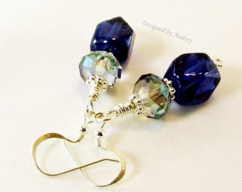 Earrings - Blue Velvet Crystal Beaded Earring Set