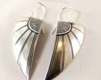 Silver Earrings - Egyptian Wings of Love Earrings - Silver Earrings