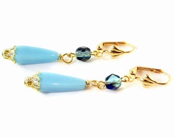 Turquoise and Teal Crystal Drop Earrings