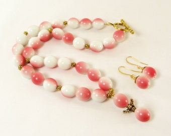 Pink and White Island Dreams Necklace and Earring Set - Pink Necklace Set