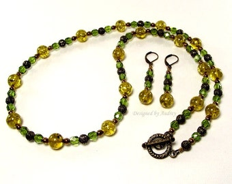Green Amber and Crystal Necklace and Earring Set