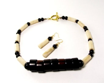 Necklace and Earring Set  -  Creamy Bone Marble and Horn Beaded Necklace With Matching Earrings