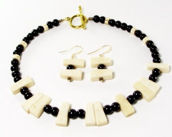 Brown and Cream Ladder Choker Necklace and Earring Set - Brown and White Necklace Set