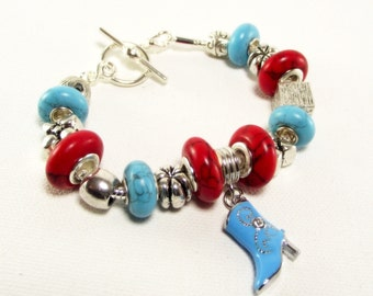 Bracelet - Red and Blue Turquoise Euro Charm Bracelet With Crystal Encrusted Cowboy Boot Charm