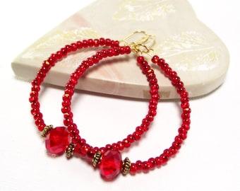 Beaded Hoops - Red Crystal Hoop Earrings - Red Earrings