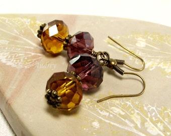 Purple and Topaz Crystal Earrings - Vintage Styled