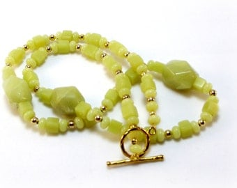 Olive Jade Necklace and Earring Set - Soft Green Necklace and Earrings - Green Necklace Set