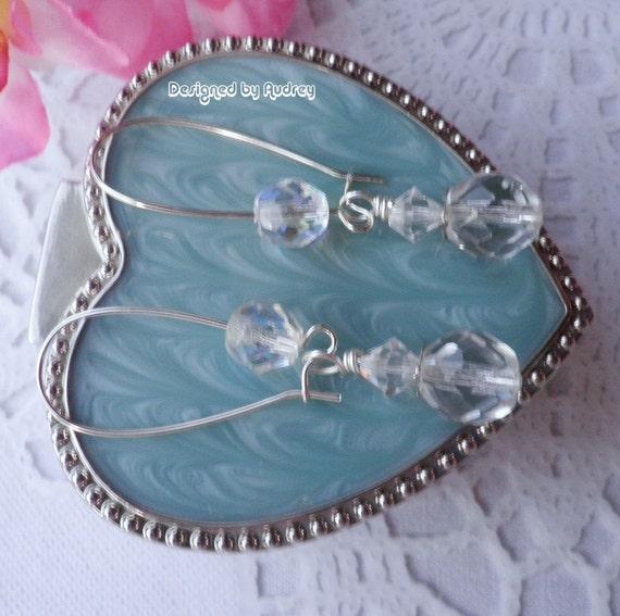 Crystal Clear Sparkle Swarovski Triple Gem  Earrings