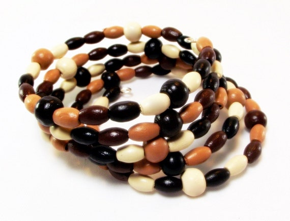 Bracelet - Light and Lovely Wood Beaded Memory Wire Bracelet