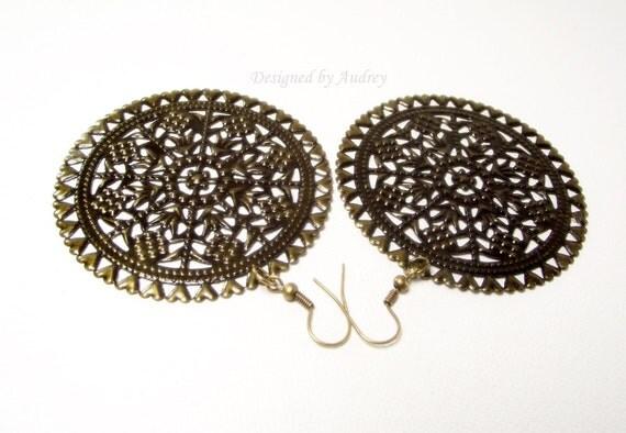 Earrings - Antique Brass Filigree Medallion Earrings