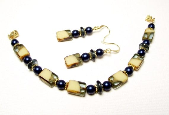 Bracelet and Earring Set - Montana Blue and Cream Bracelet with Matching Earrings