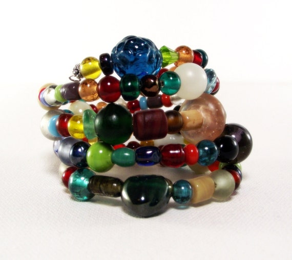 Colorful Artsy Bead Memory Wire Bracelet No 3