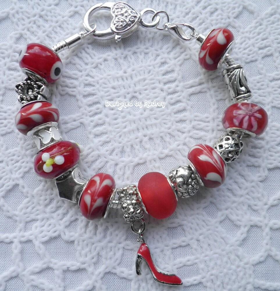 Shoe Charm Bracelet: Ruby Red Shoe Pandora Charm Bracelet