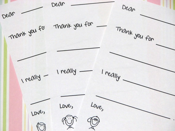 custom kids fill in the blank thank you notes 2 notes on 1