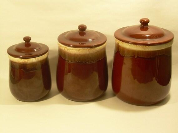 Set of Three Brown McCoy Storage Jars