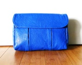 Vintage 1980s Bright Blue Leatherette Shoulder Carry Bag Purse