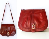 Vintage 1970s Wine Red Leather Envelope Purse Italy