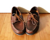 Men's Vintage 1980s Brown Leather Boat Deck Loafers Oxfords Shoes Sz 9.5