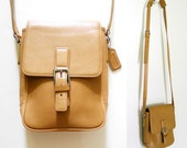Coach Beige Tan Leather Cross Body Shoulder Bag Purse
