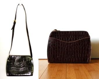 Vintage Dark Brown Faux Crocodile Skin Leather Purse