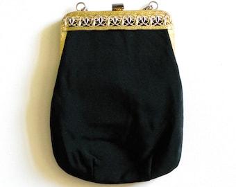 Vintage 1950s Black Gold Frame Evening Clutch Purse